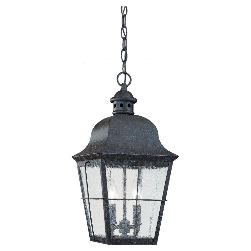 Sea gull lighting chatham 2 light oxidized bronze outdoor for Hanging outdoor light fixtures