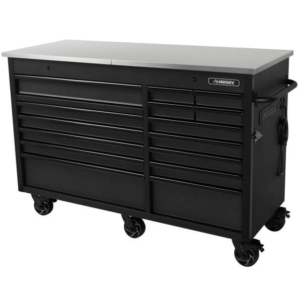 Heavy-Duty 63 in. W 15-Drawer, Deep Tool Chest Mobile Workbench in Matte Black with Flip-Top Stainless Steel Top