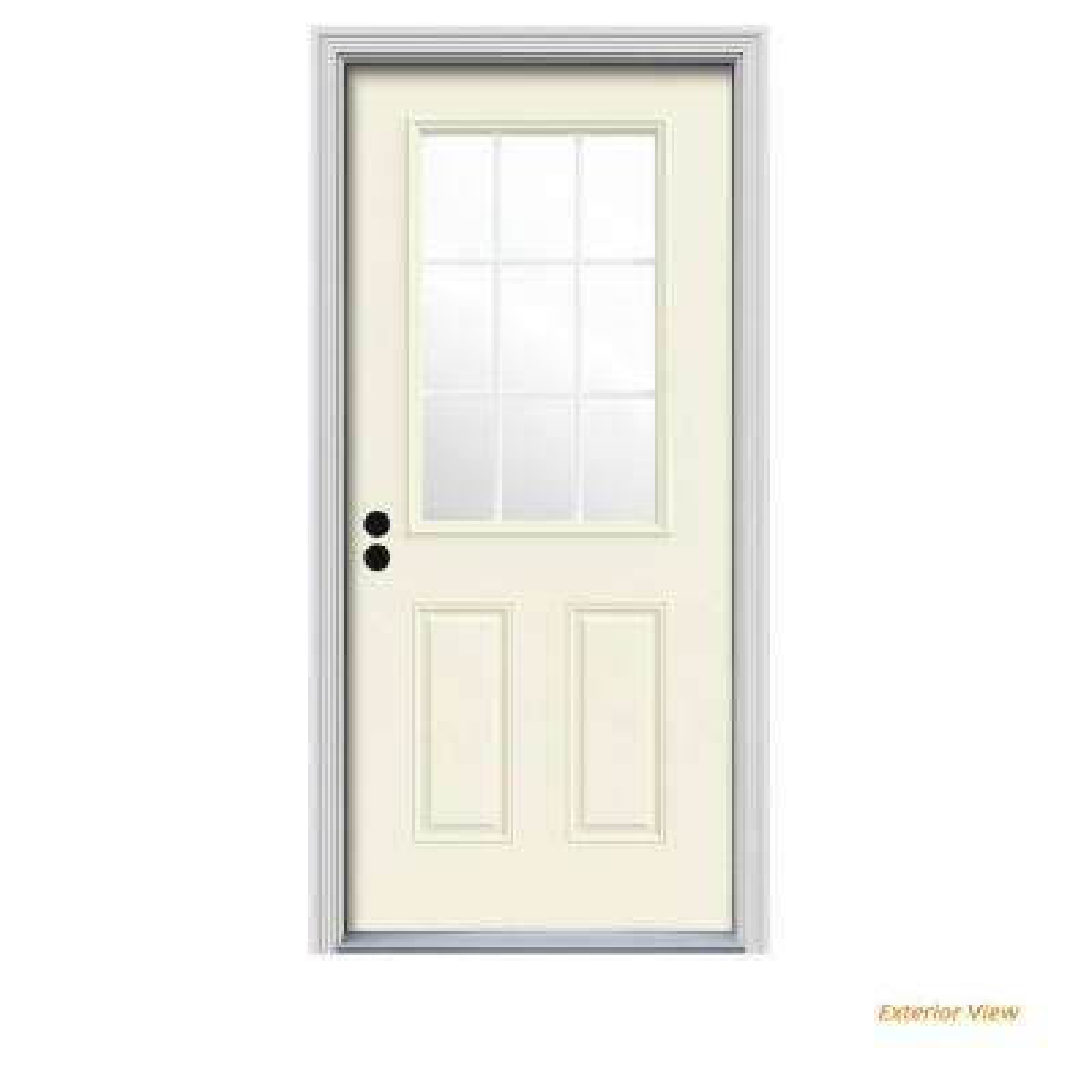 30 in. x 80 in. 9 Lite Vanilla Painted Steel Prehung Right-Hand Inswing Front Door w/Brickmould