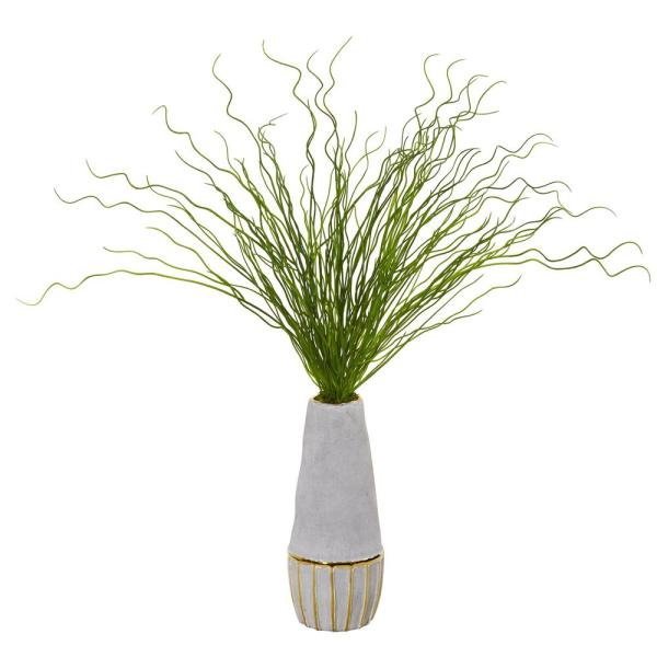 Nearly Natural 23 in. Curly Grass Artificial Plant in Decorative Planter