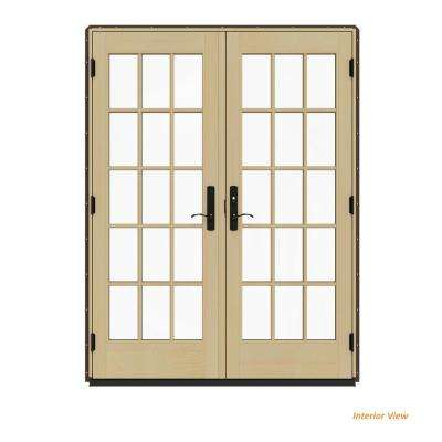 60 in. x 80 in. W-4500 Contemporary Brown Clad Wood Left-Hand 15 Lite French Patio Door w/Lacquered Interior
