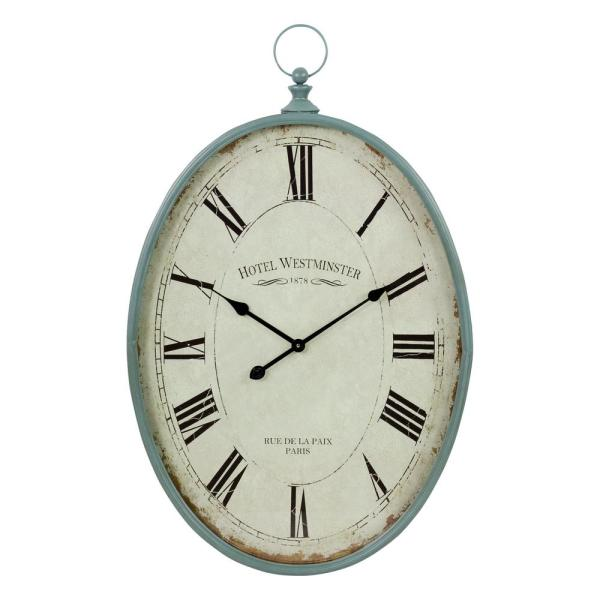 Oval Wall Clock Plastic White Background /& Black Dial Modern Wall Décor
