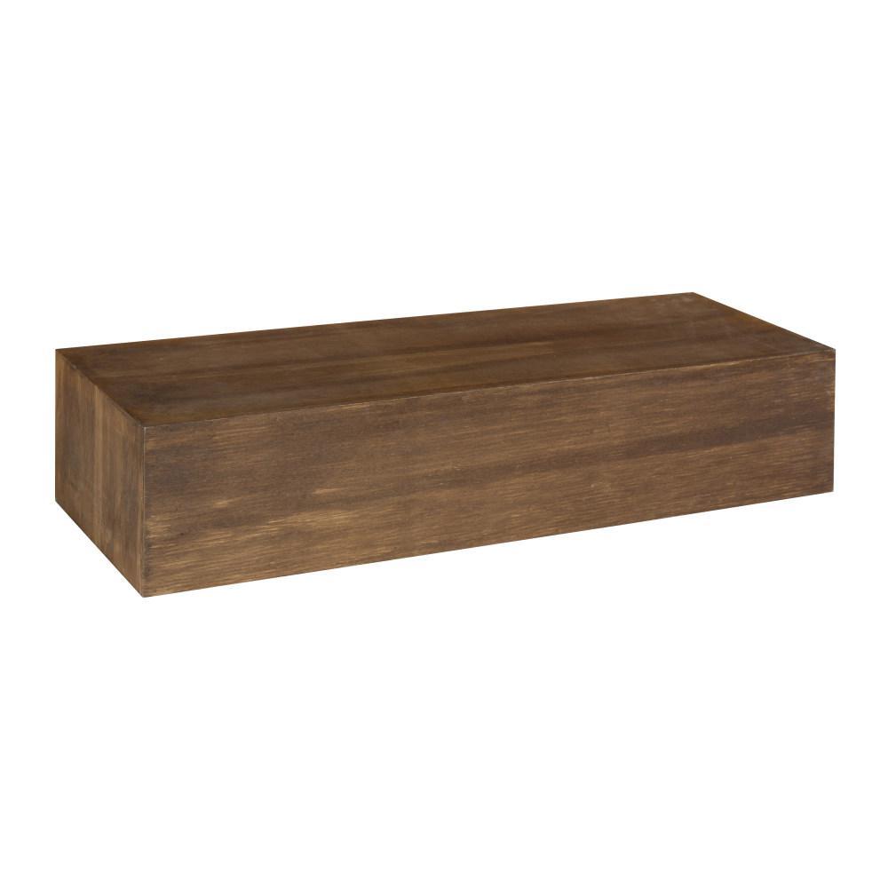 Boxx 8 in. x 24 in. x 5 in. Rustic Brown Wood Decorative Wall Shelf