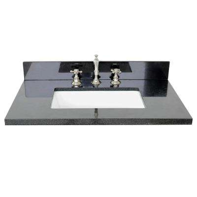Ragusa II 31 in. W x 22 in. D Granite Single Basin Vanity Top in Black with White Rectangle Basin