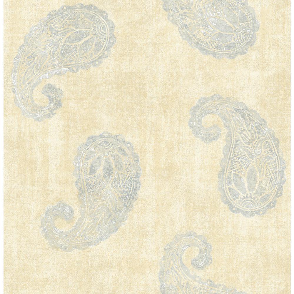 Kashmir Yellow Paisley Wallpaper