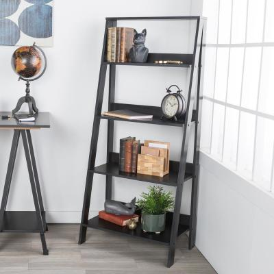 55 in. Black Wood 4-shelf Ladder Bookcase with Open Back