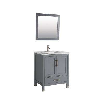 Ricca 30 in. W x 22 in. D x 36 in. H Vanity in Grey with Marble Vanity Top in White with White Basin and Mirror