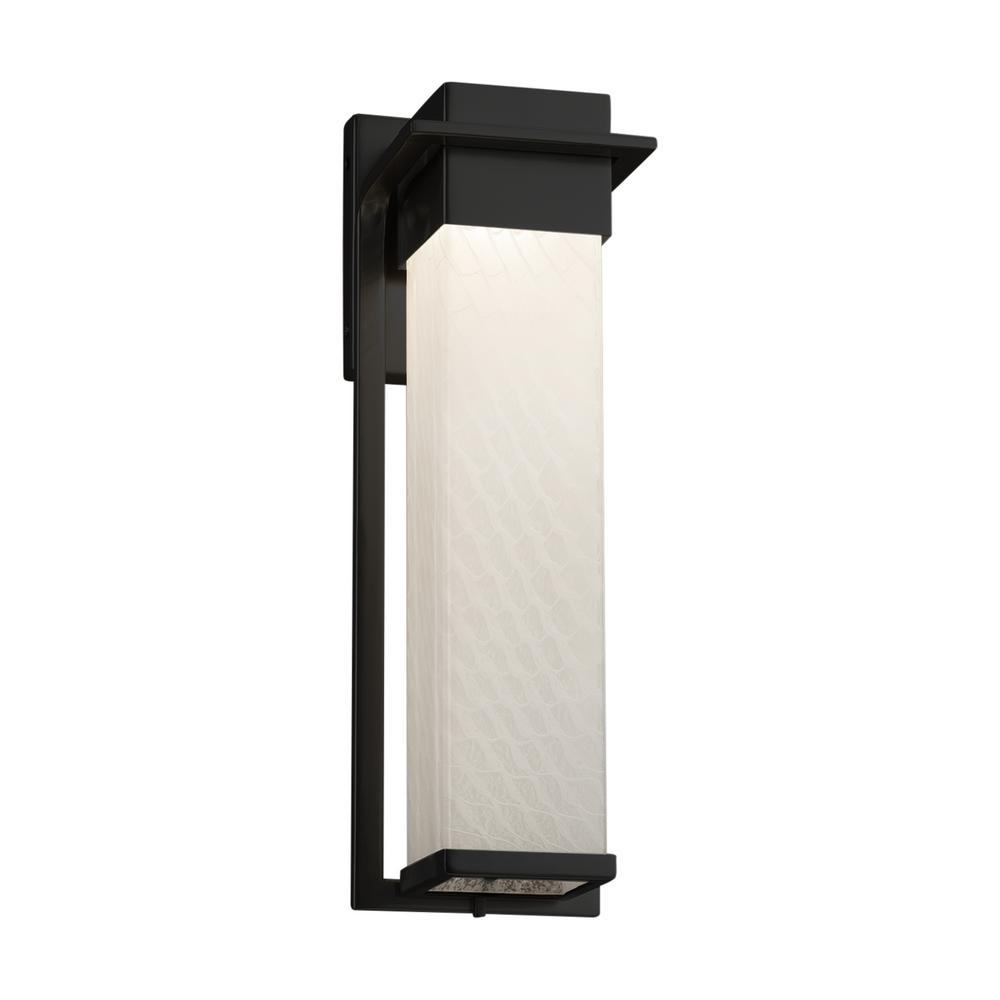 Justice Design Fusion Pacific Large Matte Black LED Outdoor Wall Sconce with Weave Shade
