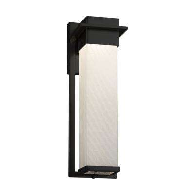 Fusion Pacific Matte Black LED Outdoor Wall Lantern Sconce with Weave Shade