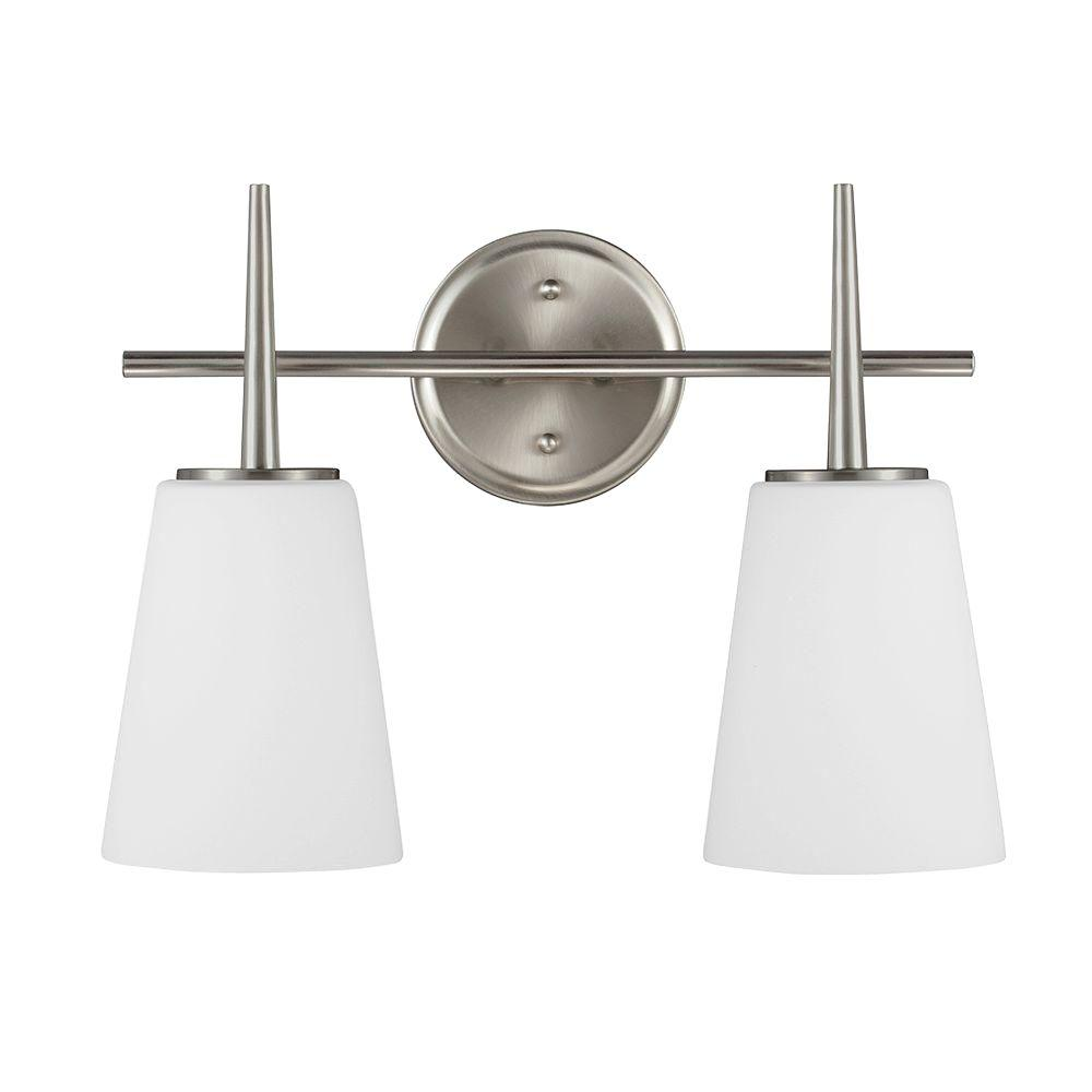 Sea gull lighting driscoll 2 light brushed nickel wallbath vanity sea gull lighting driscoll 2 light brushed nickel wallbath vanity light with inside aloadofball Gallery