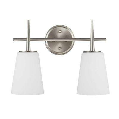 Driscoll 2-Light Brushed Nickel Wall/Bath Vanity Light with Inside White Painted Etched Glass