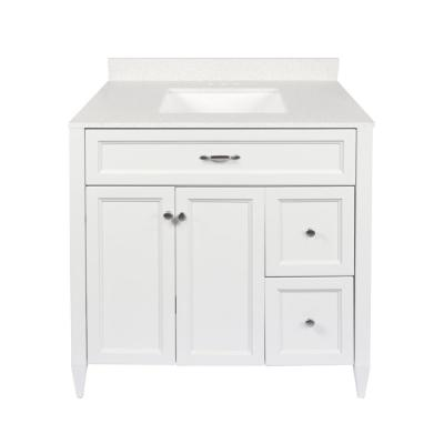 Verona 37 in. W x 22 in. D Bath Vanity in White with Quartz Stone Vanity Top in Galaxy White with White Basin