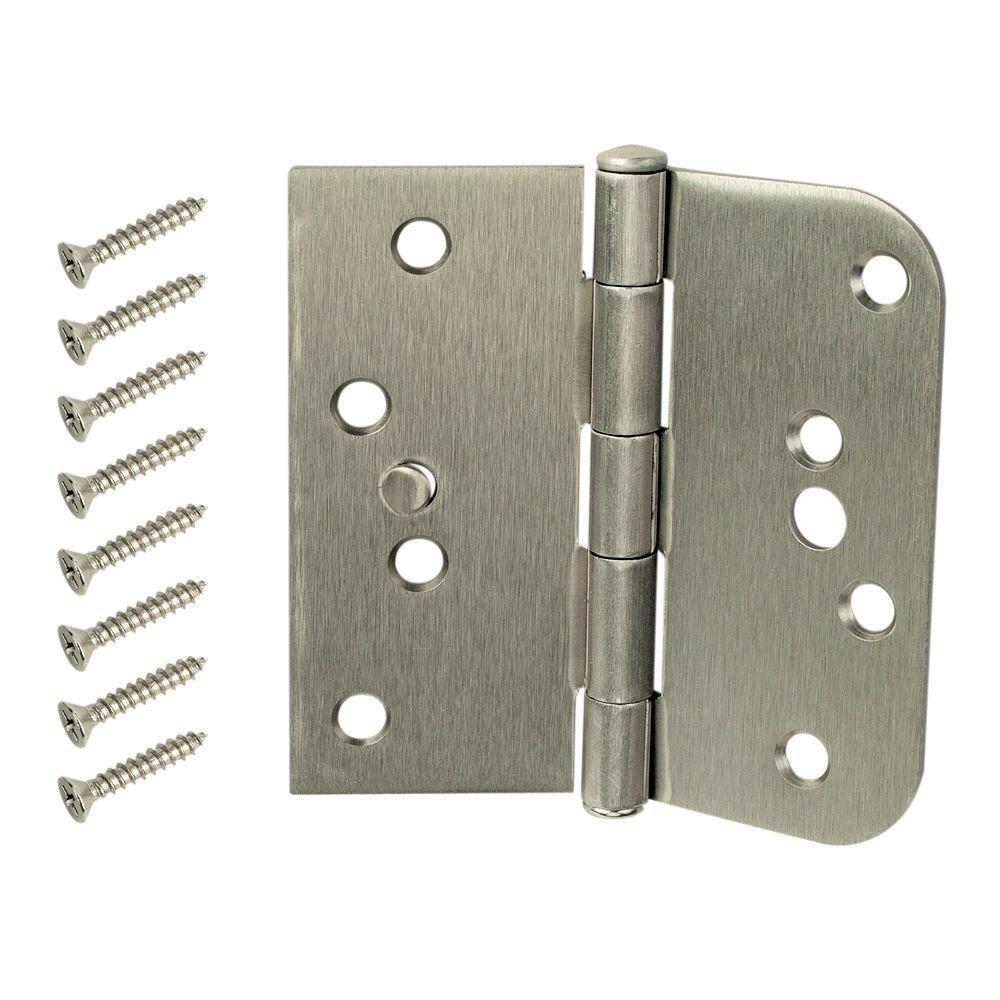 4 in. Satin Nickel Half Square Corner and Half 5/8 in. Radius Security Door Hinge