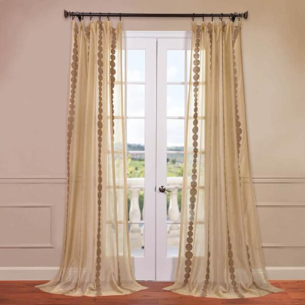 Cleopatra Embroidered Sheer Curtain in Gold - 50 in. W x 84 in. L