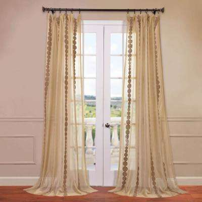 Cleopatra Embroidered Sheer Curtain in Gold - 50 in. W x 120 in. L