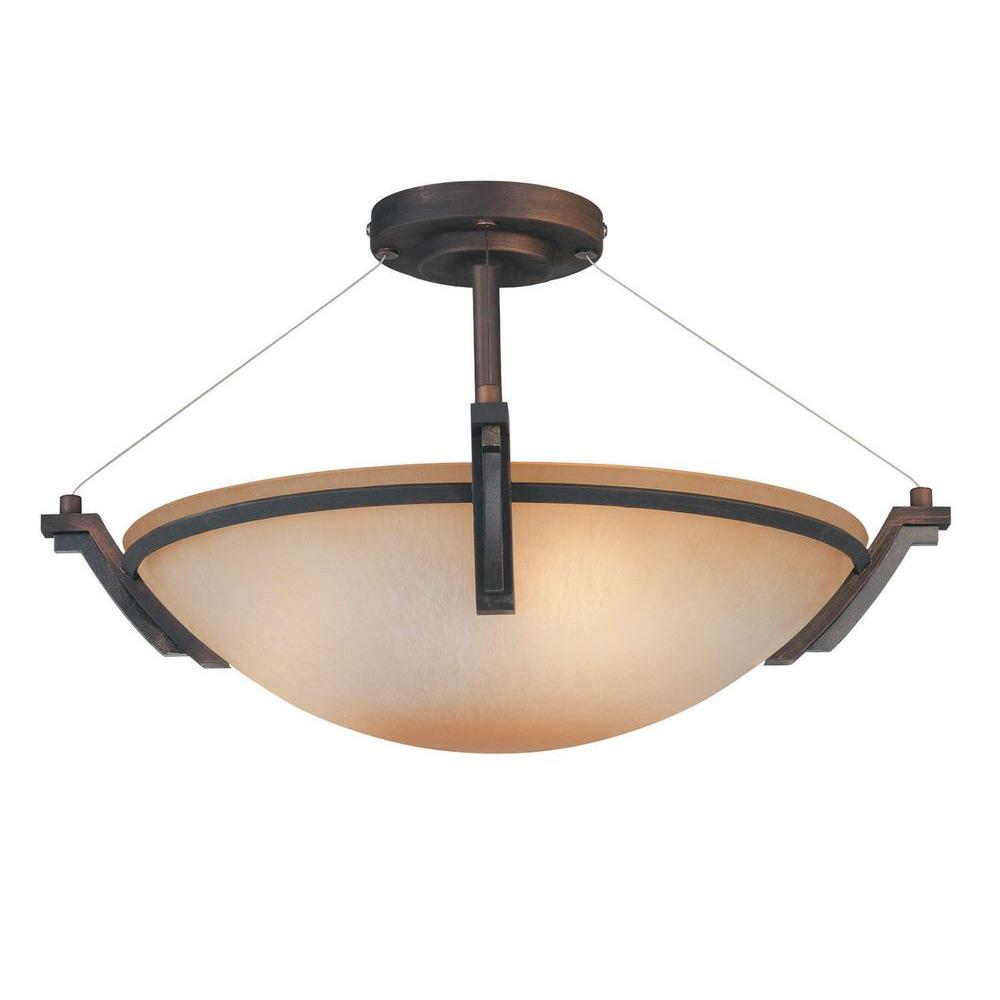 Yeats 3-Light Oil-Rubbed Bronze Semi-Flush Mount Light