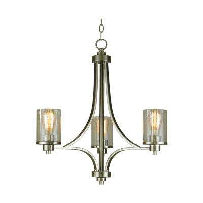 3-Light Satin Steel Chandelier with Seeded Glass Shade