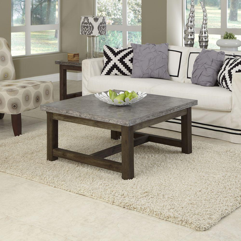 Home Styles Concrete Chic Acacia Coffee Table