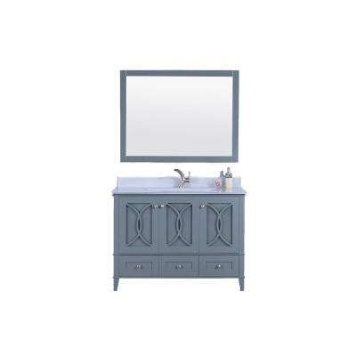48 in. W x 22 in. D Vanity in Dark Gray with Tempered Glass Vanity Top and Mirror