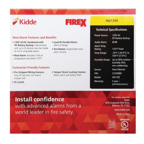 Kidde Firex Hardwired Inter Connectable 120 Volt Auxiliary Heat Detector 135 Degree With Battery Backup Hd135f The Home Depot