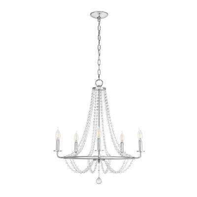 5-Light Chrome Chandelier with Crystal Glass Beads