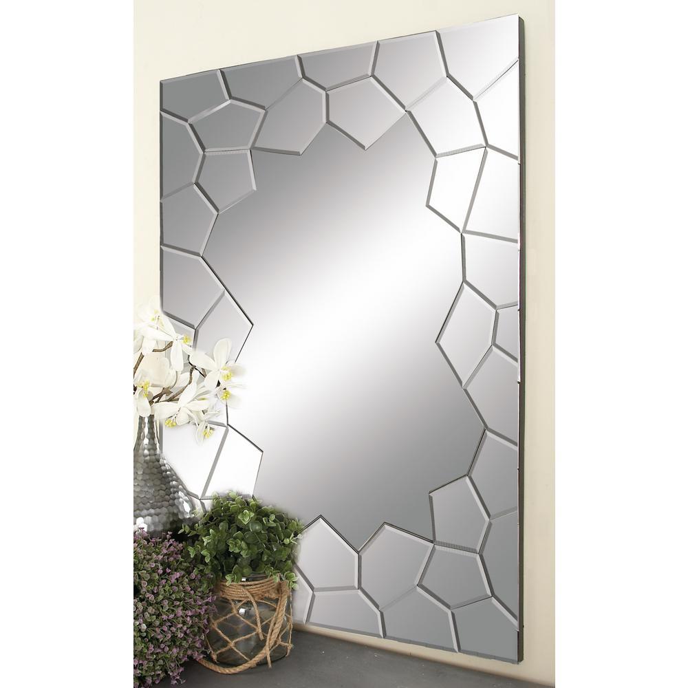 Jagged-Edged Puzzle Design Rectangular-Framed Wall Mirror