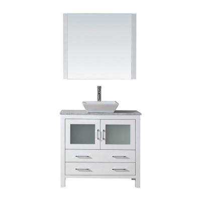 Dior 32 in. W x 18.3 in. D Vanity in White with Marble Vanity Top in Carrara White with White Basin and Mirror