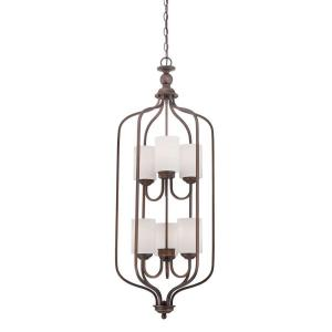 6-Light Rubbed Bronze Pendant with Etched White Glass