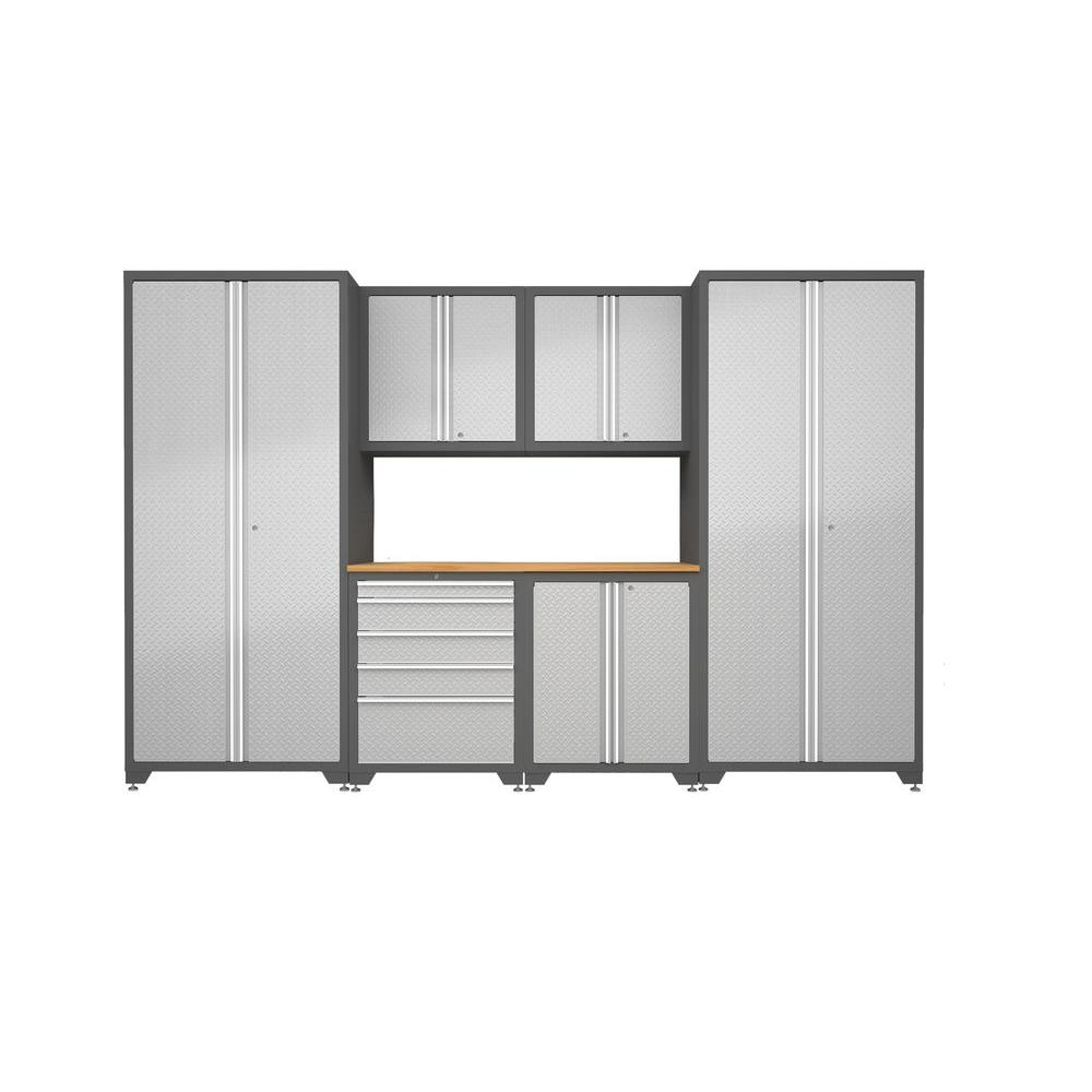 NewAge Products Pro Diamond Plate 128 in. x 82.5 in. x 24 in. Freestanding Metal Cabinetry Set in Silver Finish/Gray Frame (7-Piece)