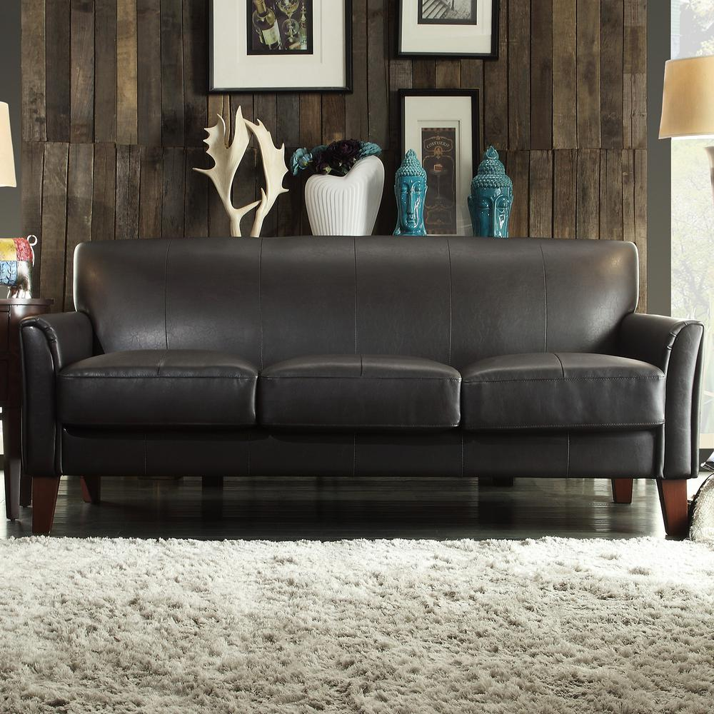 HomeSullivan Dark Brown Vinyl Microfiber Sofa 409913PU-3TL[SOFA ...