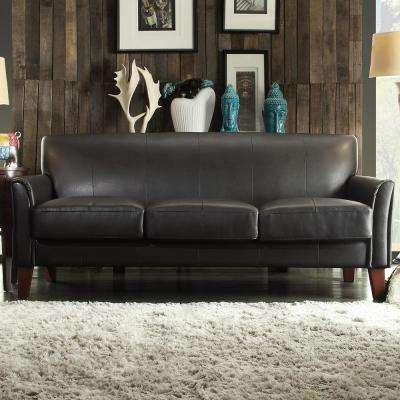 Dark Brown Vinyl Microfiber Sofa