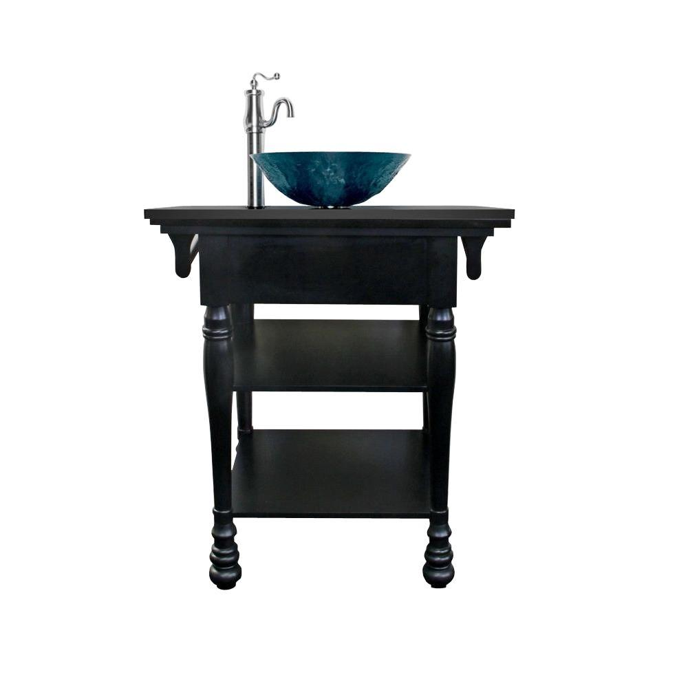 JSG Oceana Chess 30 in. Vanity in Black with Vessel Granite Vanity Top in Black