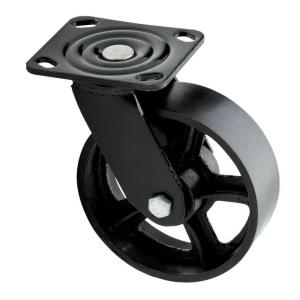 6 in. Black Industrial Swivel Plate Caster with 1100 lb. Load Rating
