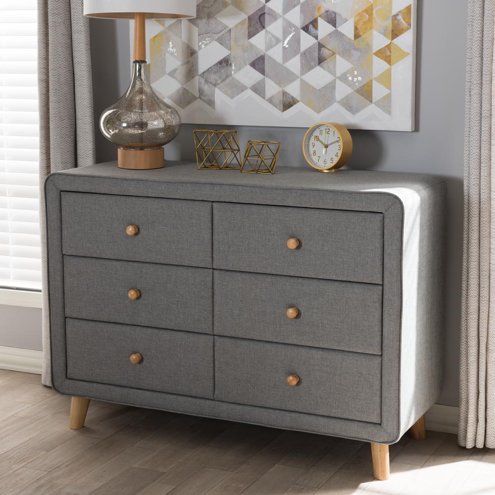Jonesy mid century 6 drawer gray fabric upholstered chest