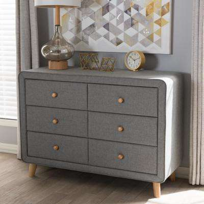 Jonesy Mid-Century 6-Drawer Gray Fabric Upholstered Chest