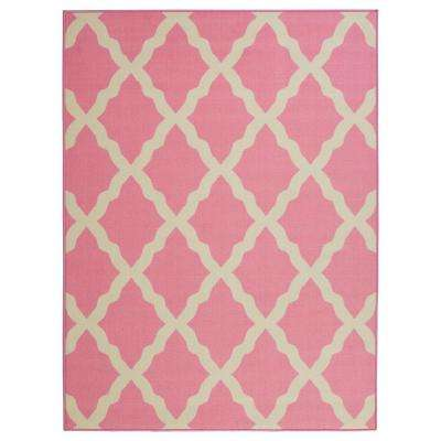 Glamour Collection Contemporary Moroccan Trellis Design Pink
