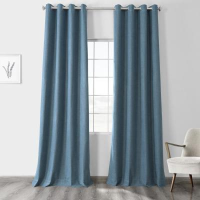 Ovation Blue Vintage Thermal Cross Linen Weave Max Blackout Grommet Curtain - 50 in. W x 108 in. L (1 Panel)