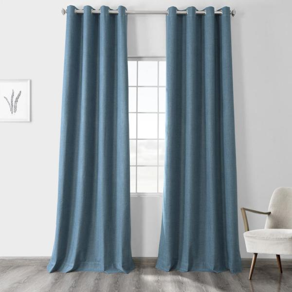 Ovation Blue Vintage Thermal Cross Linen Weave Max Blackout Grommet Curtain - 50 in. W x 84 in. L (1 Panel)