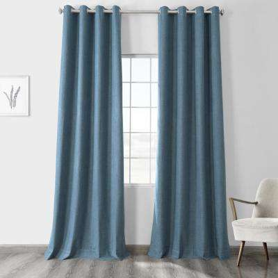 Ovation Blue Vintage Thermal Cross Linen Weave Max Blackout Grommet Curtain - 50 in. W x 96 in. L (1 Panel)