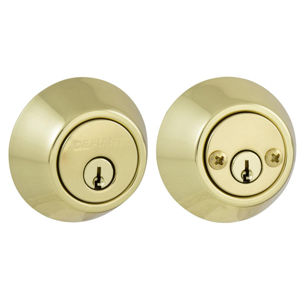 Defiant Double Cylinder Polished Brass Deadbolt