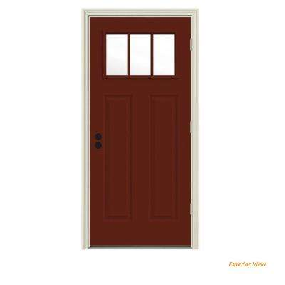 30 in. x 80 in. 3 Lite Craftsman Mesa Red Painted Steel Prehung Left-Hand Outswing Front Door w/Brickmould