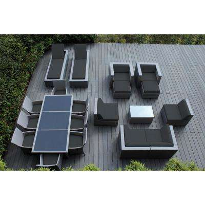 Gray 20-Piece Wicker Patio Combo Conversation Set with Spuncrylic Gray Cushions