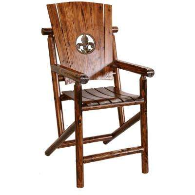 Char-Log Patio Dining Chair with Fleur De Lis