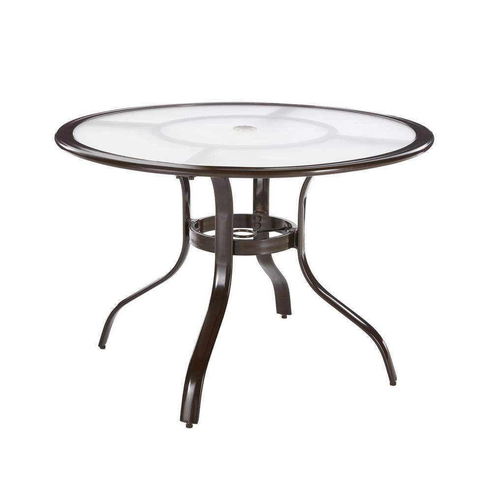 Hampton Bay Commercial Aluminum 40 in. Round Outdoor Acrylic Top Dining Table in Brown