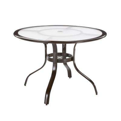 Commercial Aluminum 40 in. Round Outdoor Acrylic Top Dining Table in Brown