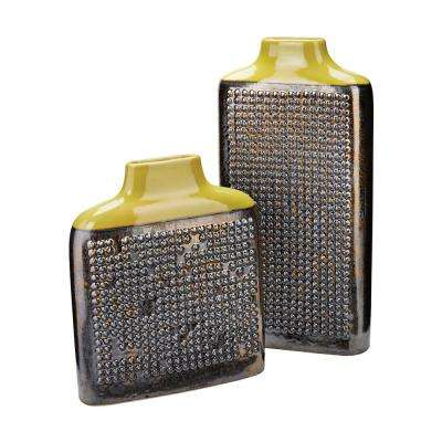 Dotted Relief Rectangular Earthenware Decorative Vases in Lawn Green (Set of 2)