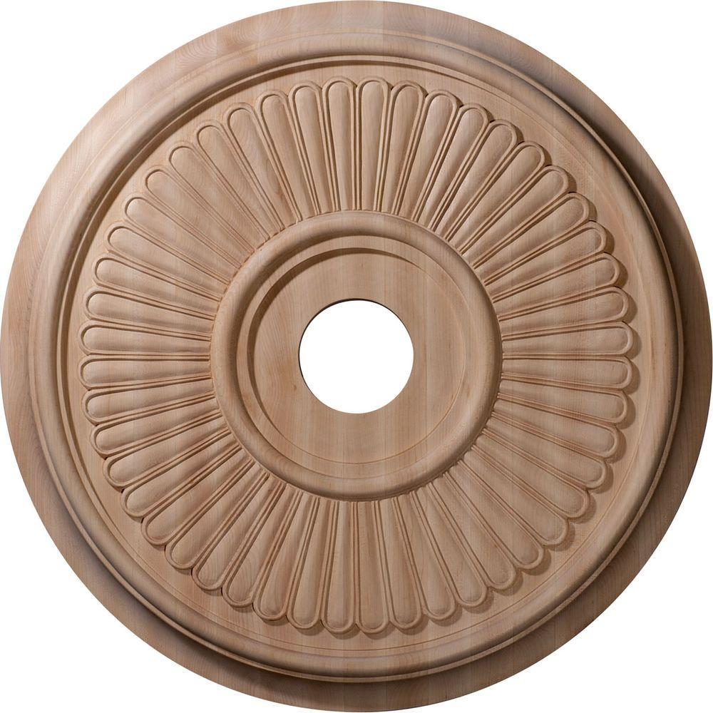 Ekena Millwork 24 in. Unfinished Maple Carved Berkshire Ceiling Medallion
