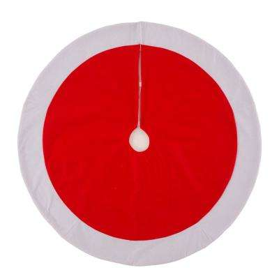 42 in. D Felt Christmas Tree Skirt  in Traditional Red and White