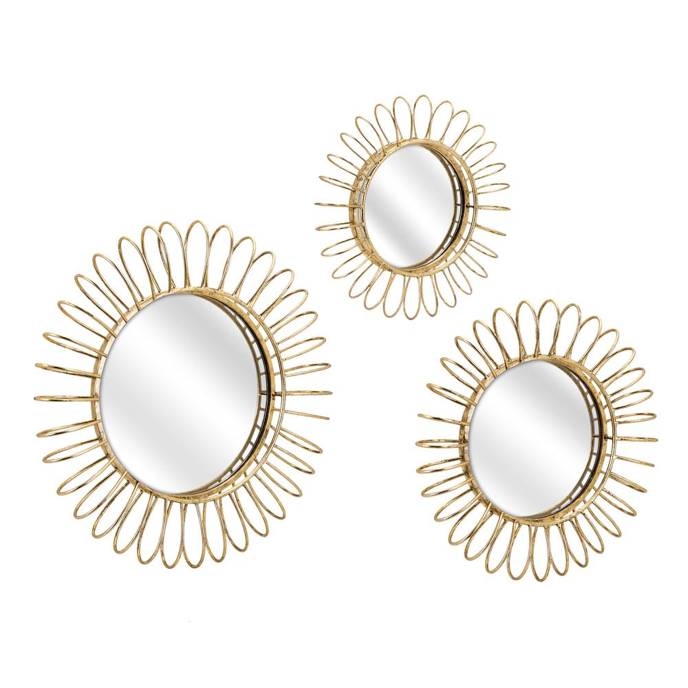 Phillips Gold Decorative Mirror Set Of 3 64527 3 The Home Depot