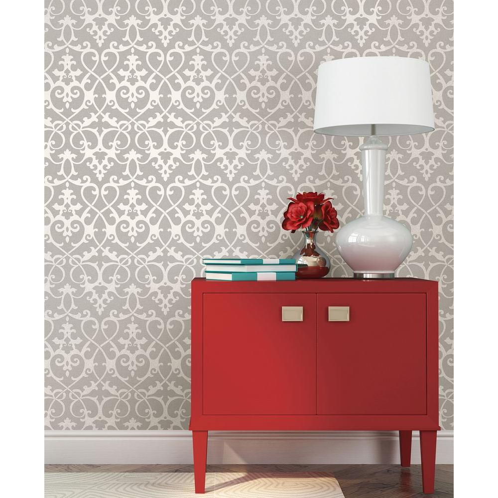 Axiom Taupe Ironwork Wallpaper
